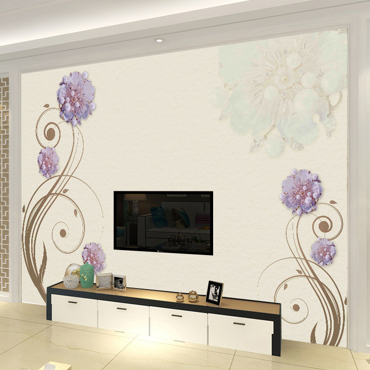 Jewelry TV Backdrop Wallpaper Seamless 3D Mural Living Room Film And Television Wall Cloth Waterproof Retro Flower Wallpaper