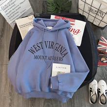 Bluzki damskie w stylu koreańskim ubrania ponadgabarytowe 2020 kobiet streetwear luźna bluza zimowa sweter bluza z kapturem Harajuku z długim rękawem tanie tanio Poliester Mikrofibra Octan CN (pochodzenie) Zima Bluzy Rozwijane ramię Pełna Grube Polar sweatshirt 400g Swetry WOMEN