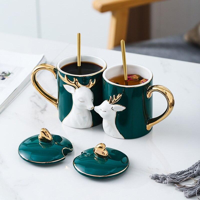 Cartoon deer schönheit Keramik kaffee becher kreative reise becher kaffee tasse emaille becher Geschenk Box Mit Deckel Europa weihnachten tassen 50mk56 - 3