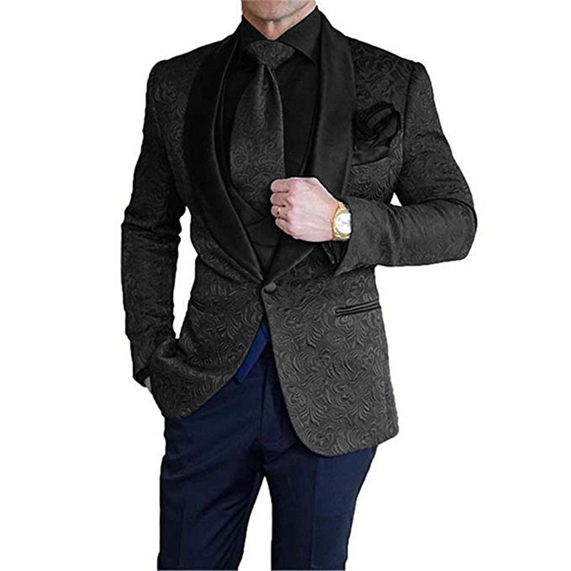 Mens Suit 2 Piece Slim Fit Jacquard Shawl Lapel Tuxedos Casual Groomsmen For Wedding Suits Men 2020 (Blazer+Pant)