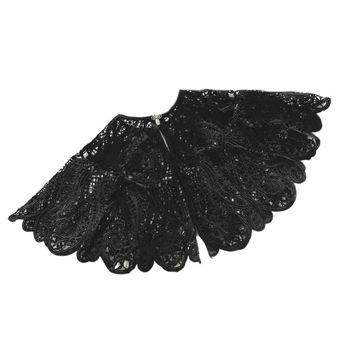 Vintage Women Crochet Black Lace Fake Collar Hollow Detachable Big Shawl Cape