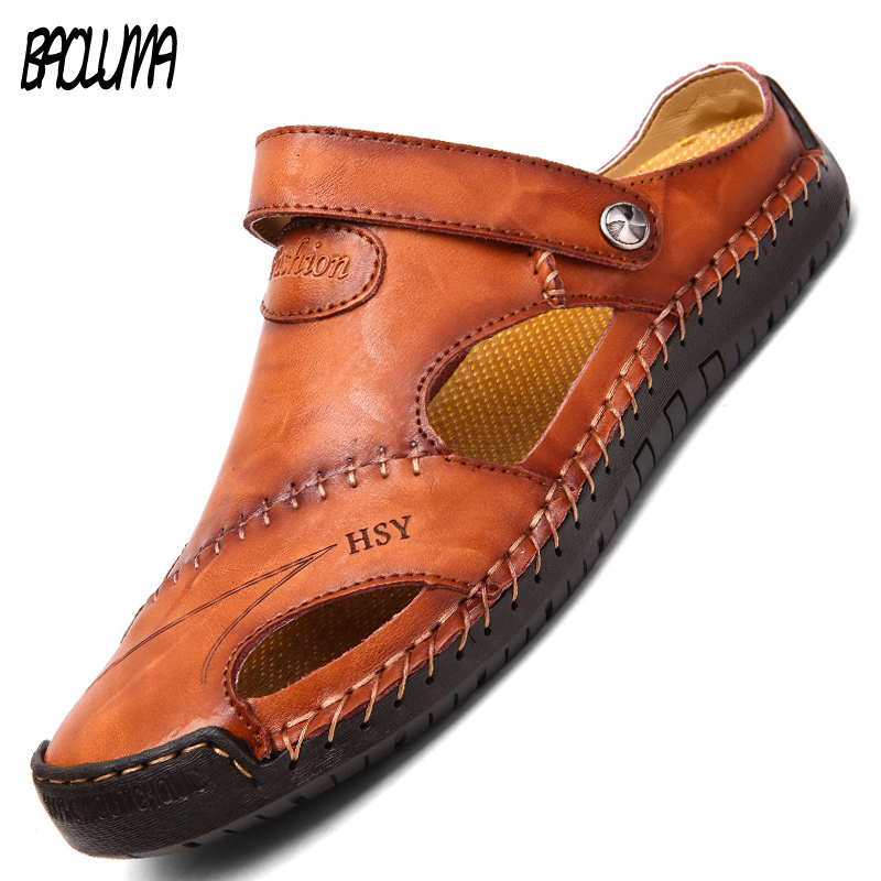 Hot Genuine Leather Summer Men Sandals Soft Shoes Beach Roman Men Sandals High Quality Sandals Slippers Bohemia Big Size 38-48
