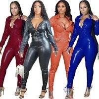 Conjunto de duas peças de couro sintético feminino, blusa, manga longa, bodycon, calça longa, de pelúcia, macia