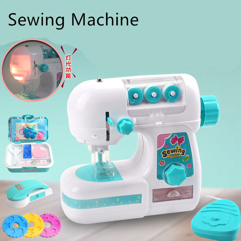 Sewing Machine Simulation Toy Cloth Household Furniture Pretend Playing Toys For Children Intelligence Activities Girl Gift Game