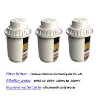 3 cartuchos de filtro de água da substituição dos pacotes para o jarro alcalino do filtro de água mineral 3.5l
