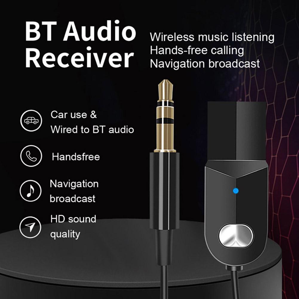 Universal Car Bluetooth Transmitter Bluetooth 5.0 Adapter with 3.5mm Audio Jack Wireless Music Handsfree Car Headphone Receiver