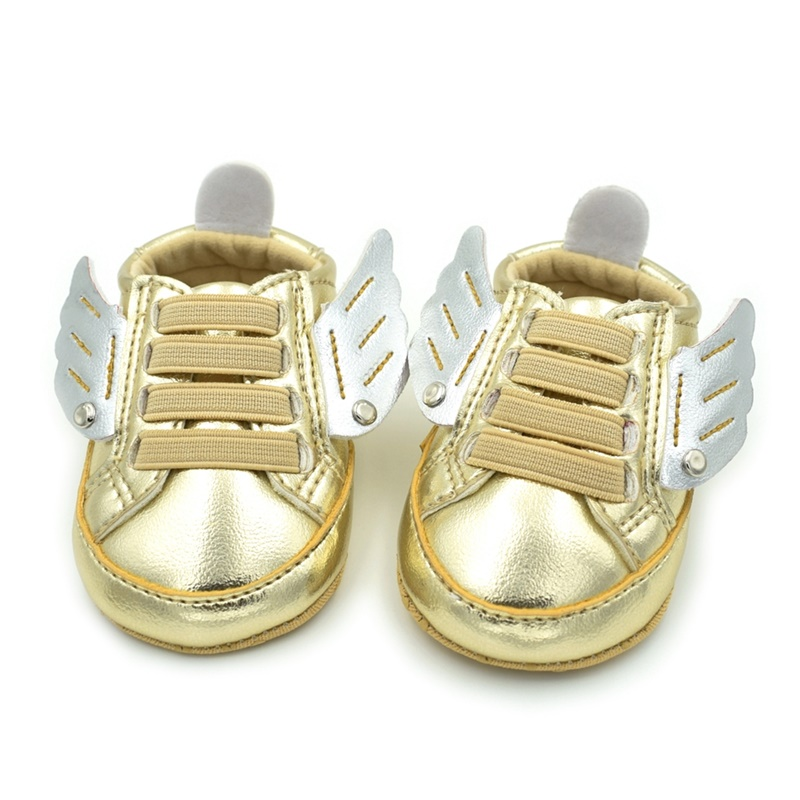 New Newborn Baby 3D Wings Gold Fashion PU Leather Shoes For Kids Sneakers Infant Crib Shoes Toddler Boys Girls First Walkers