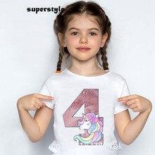 Summer 2021  Number 2~9th Happy Birthday Unicorn Girls Shirts Kids O-neck Short Sleeve T-shirt  Toddler White Girls Tops dHKP409