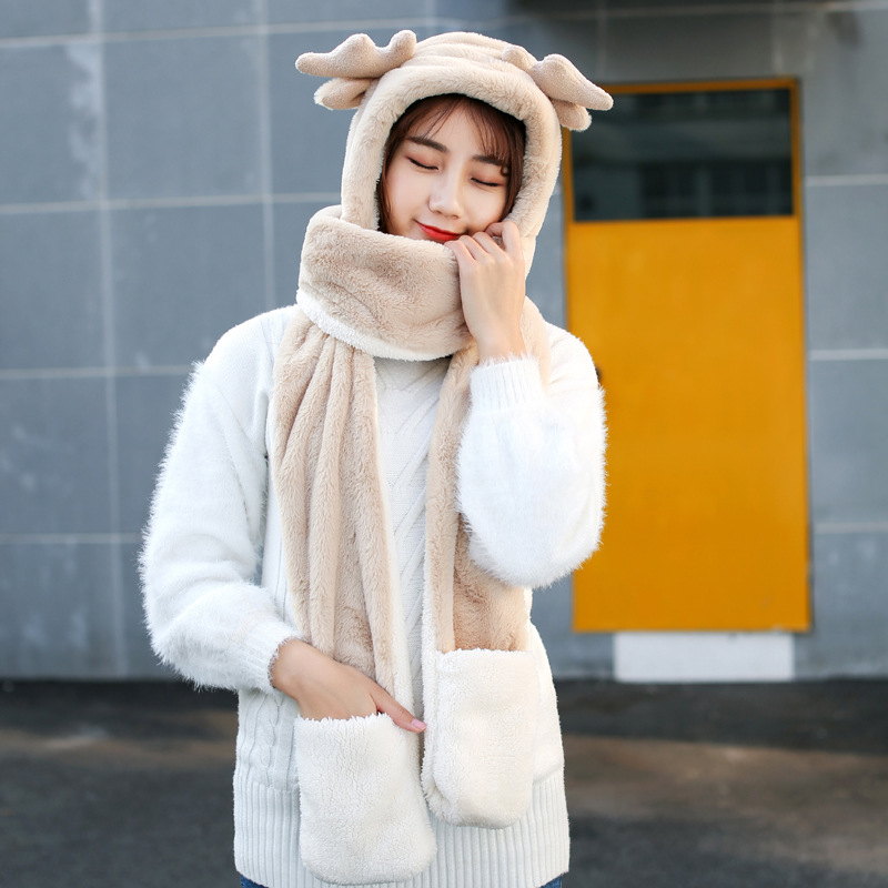 Korean-style Winter Adult Cute Antlers Double Layer Thick Hat Scarf Gloves One-piece 3pcs Set