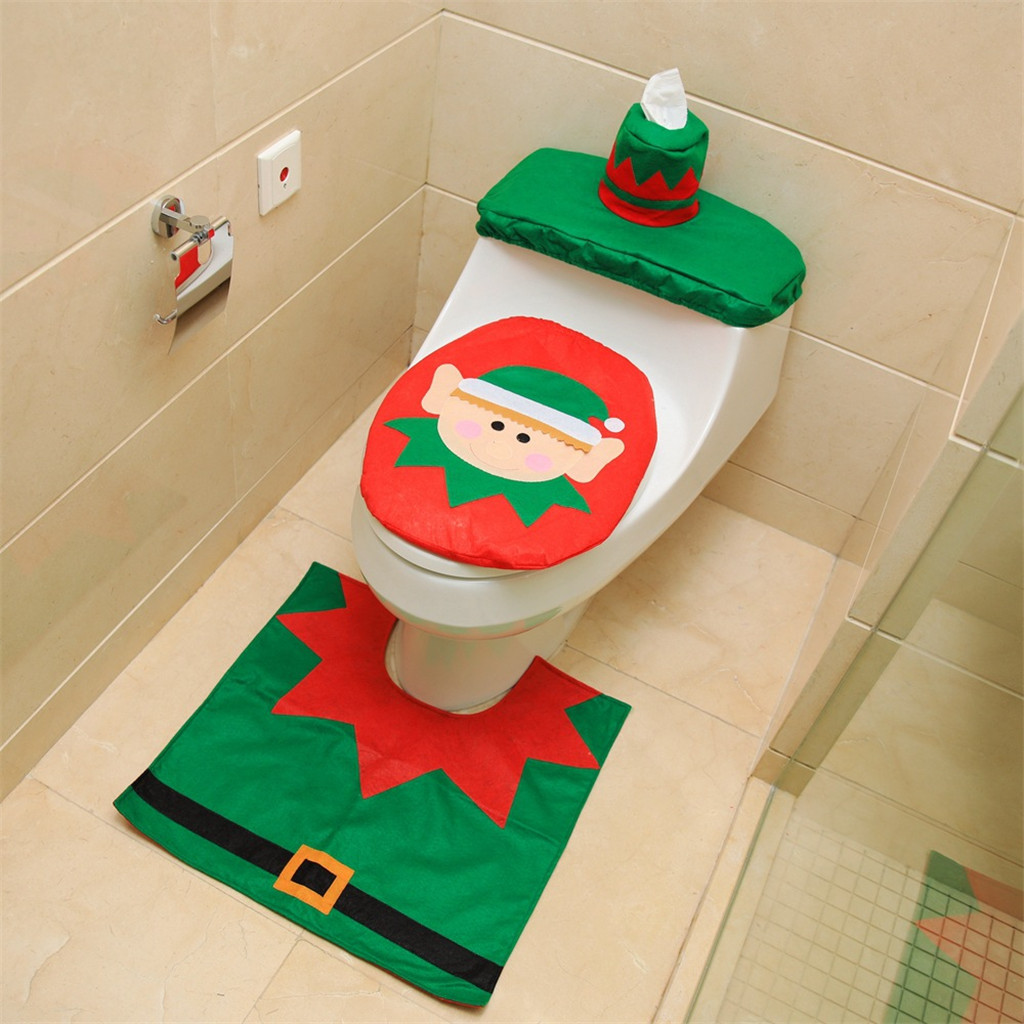 Cool 3Pcs Fancy Santa Toilet Seat Cover And Rug Bathroom Set Christmas Decor Toilet Seat Set Bathroom Products Polyester Material Super Deal Black Friday Customarchery Wood Chair Design Ideas Customarcherynet