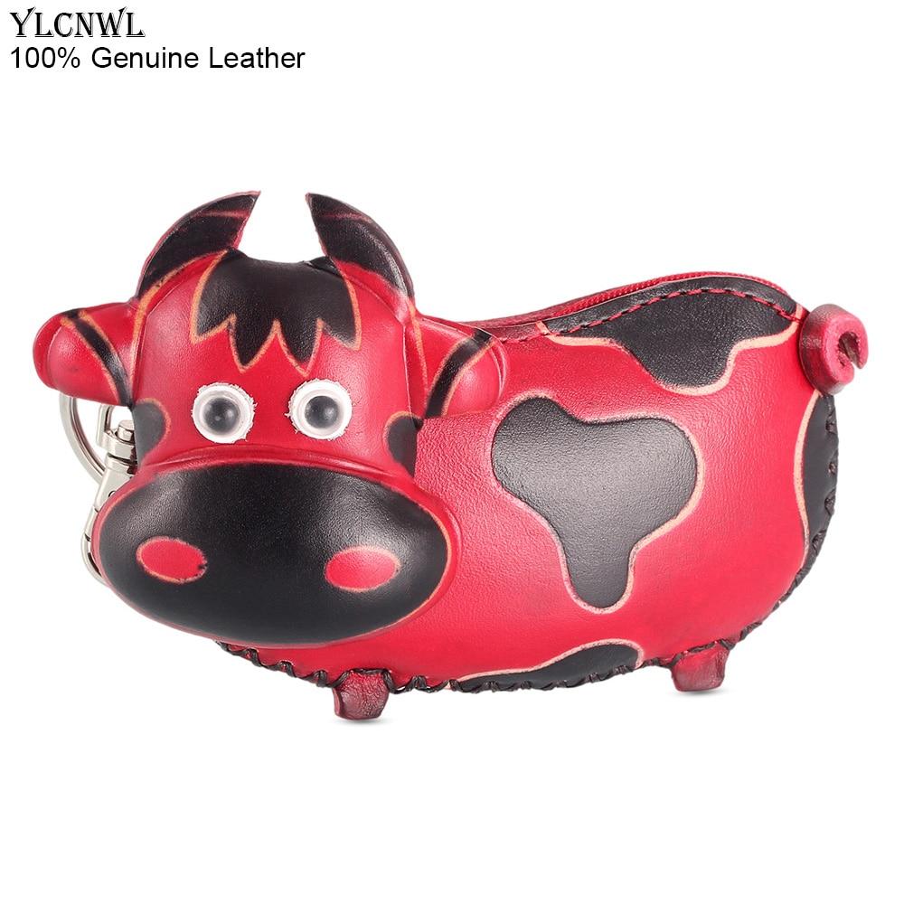 Schlüsseltasche, rote oder braune Kuh als Geldbörse, kleine Leder-Tasche (ca. 14cm) Mini-Taschen Kuh