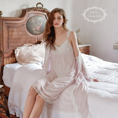 HaloSweet Sexy Lace Dressing Gown Nightgown With Robes Women's Pajamas Sleepwear Bathrobe Female Sexy Night Set Louge Set Lady