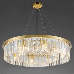 Kryształ salon okrągły żyrandol europejskiej osobowość twórcza pokój sali proste atmosferyczne restauracja żyrandol|Wiszące lampki|Lampy i oświetlenie -