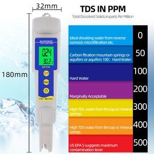 5 pces 3 em 1 portátil caneta digital tds ph 0-14 medidor de temperatura filtro de medição da qualidade da água pureza tester ph tds medidor 25%