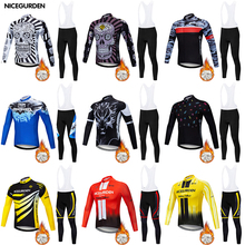 Mountain bike cycling wear men's professional 2020 winter warm and windproof wool long-sleeved suit mountain bike cycling wear