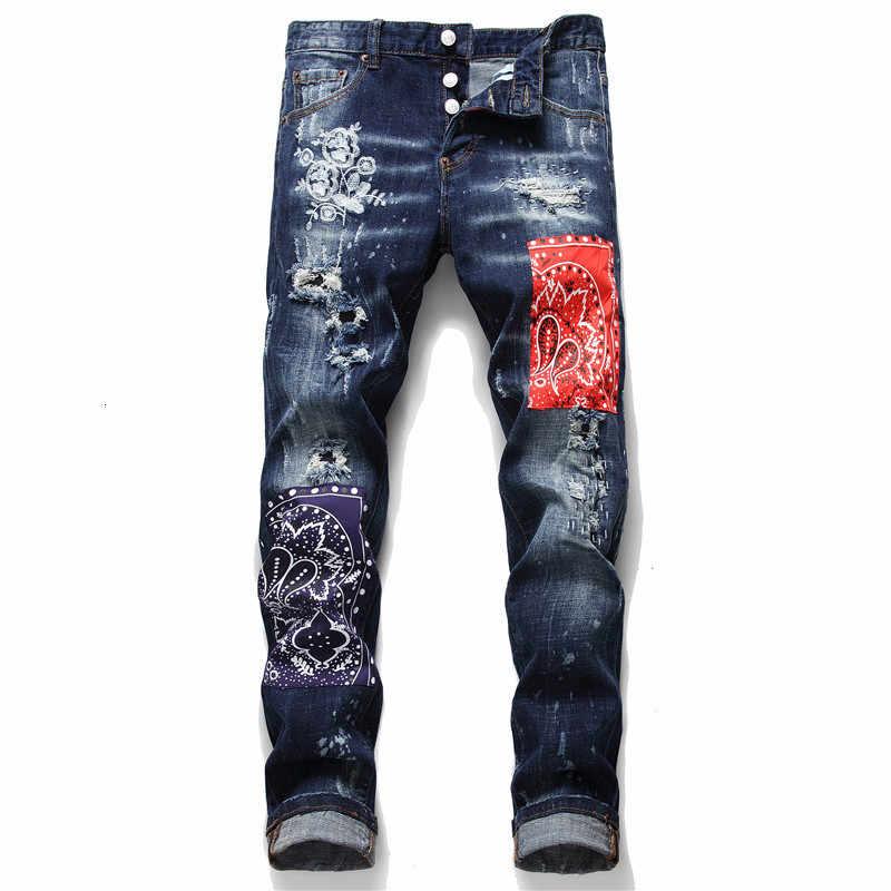 モーダhombre 2020 春男性のパッチワーク刺繍ストレッチジーンズトレンディリッピング穴パッチデザインスリムストレートデニムパンツ