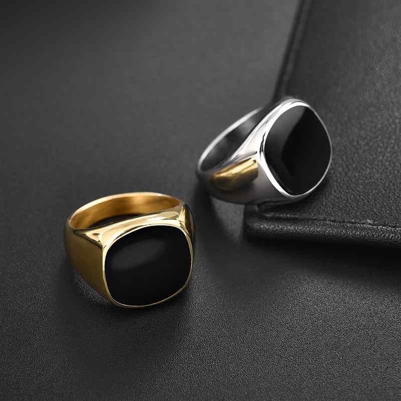 Jiayiqi แหวนผู้ชาย Punk ROCK Smooth 316L สแตนเลส Signet แหวนผู้ชาย Hip Hop เครื่องประดับขายส่งชายแต่งงาน Anel