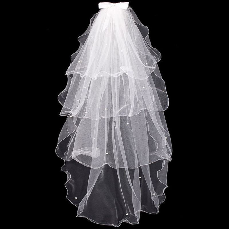 Top Sale Tulle Wedding Dress Veils White Bowknot Bridal Multi Layer Hair Veil Comb Faux Pearls Bride Fairy Marriage Accessories