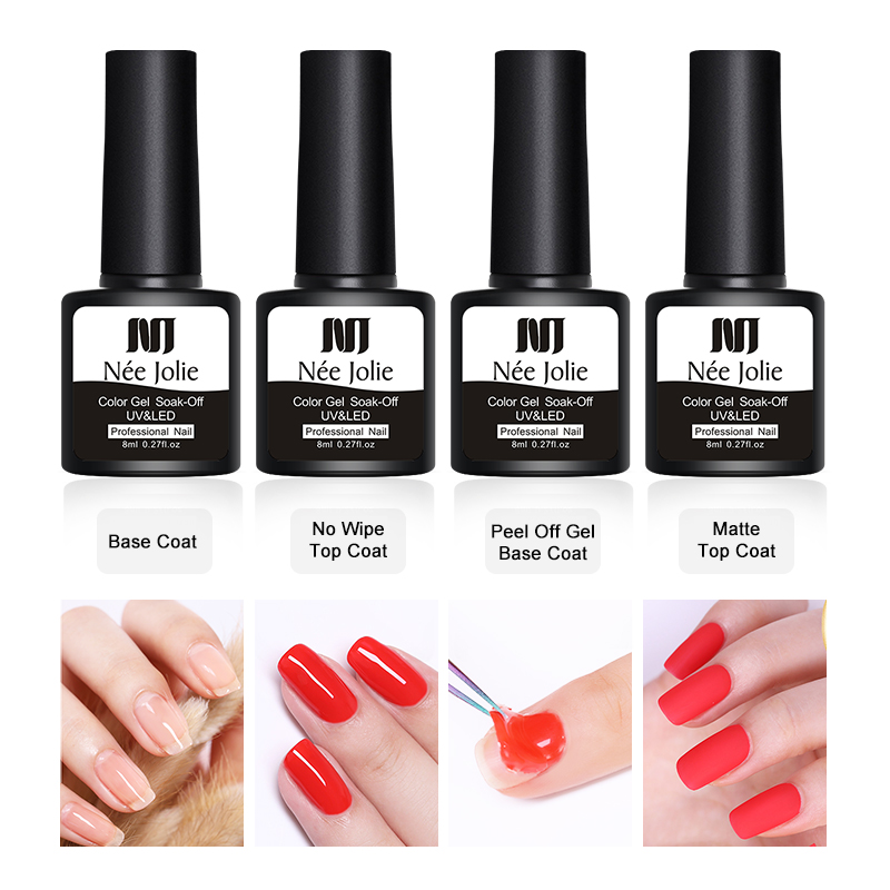 NEE JOLIE 8ml Reinforcement Gel No Wipe Top Coat Soak Off Base Nail Art Polish Enhance Long Lasting Varnish