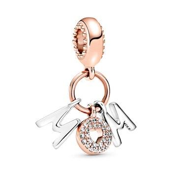 Nuevo 2020 de 100% de la plata esterlina 925 del Día de la madre Mamá cartas encanto DIY mujeres Pulsera Original pulsera regalo de la joyería de moda