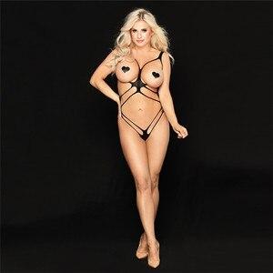 Open Bra Sexy Lingerie Women Porno Fetish Babydoll Bodystocking Hot Erotic Sex CLothes Latex Catsuit Underwear Lenceria Mujer(China)