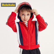 Balabala Children Zip jacket coat boy spring baby street hat fashion coatmultiple colour outerwear trend(China)