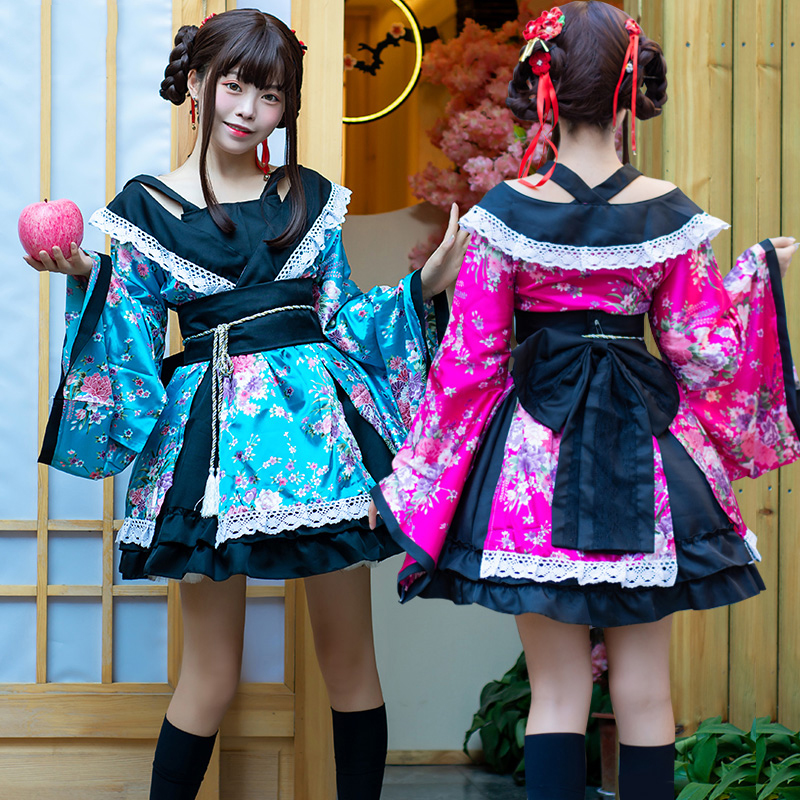 Japanese Retro Costume Female Kimono Anime Cosplay Dress Japan Yukata Girls Lolita Clothing Performance Dance Clothes DQL1870