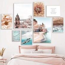 Картина на холсте с изображением дельфина волны Далии, морского города, скандинавские постеры и принты, настенные картины для декора гостин...
