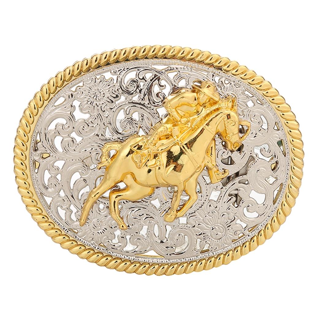 Classic Western Belt Buckle Golden Engraved OX Head Antique Oval Buckle