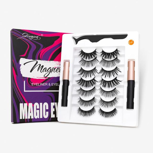 HELAN df50dan Magnetic Eyelashes Set Natural Long Magnetic False Eyelashes Magnetic Eyeliner Set Easy To Wear Lashes 1