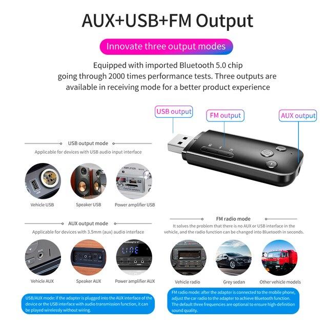 GOOJODOQ USB Bluetooth 5.0 émetteur récepteur adaptateur Dongle HIFI Audio 3.5mm AUX pour TV PC casque maison stéréo voiture haut-parleur