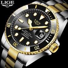 Lige мужские часы Топ бренд класса люкс модные бизнес из нержавеющей