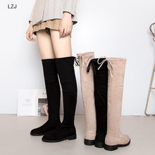 2019 Women Over The Knee Boots Lace Up Black Sexy High Heels Shoes Woman High Boot wedge Winter Comfortable Fashion Botin Mujer(China)