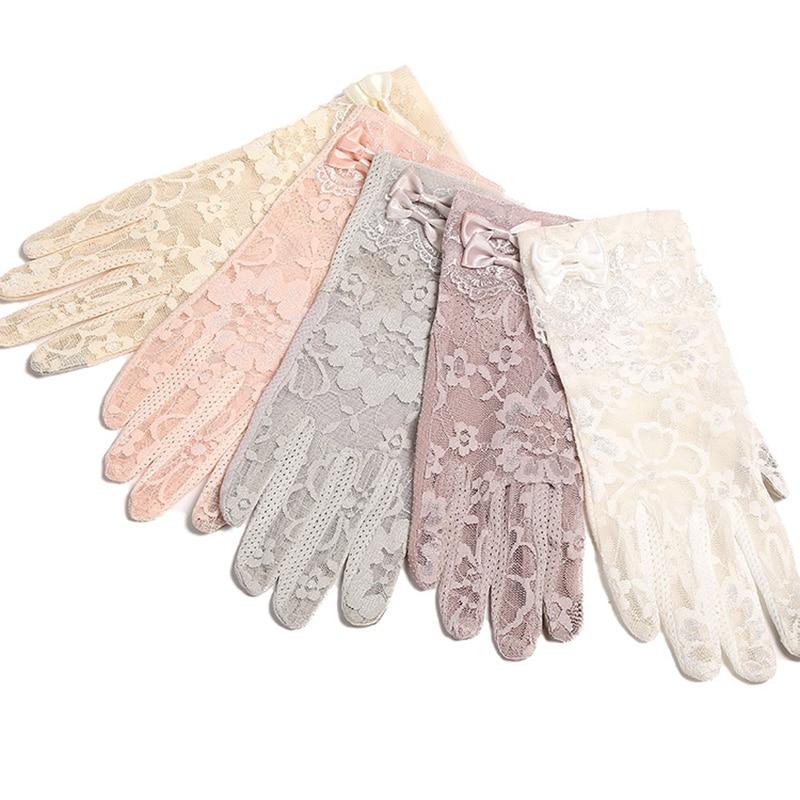 Touch Screen Short Lace Gloves Spring Ladies UV Slip Resistant Sunscreen Driving Womens Gloves White Summer Full Finger Gloves