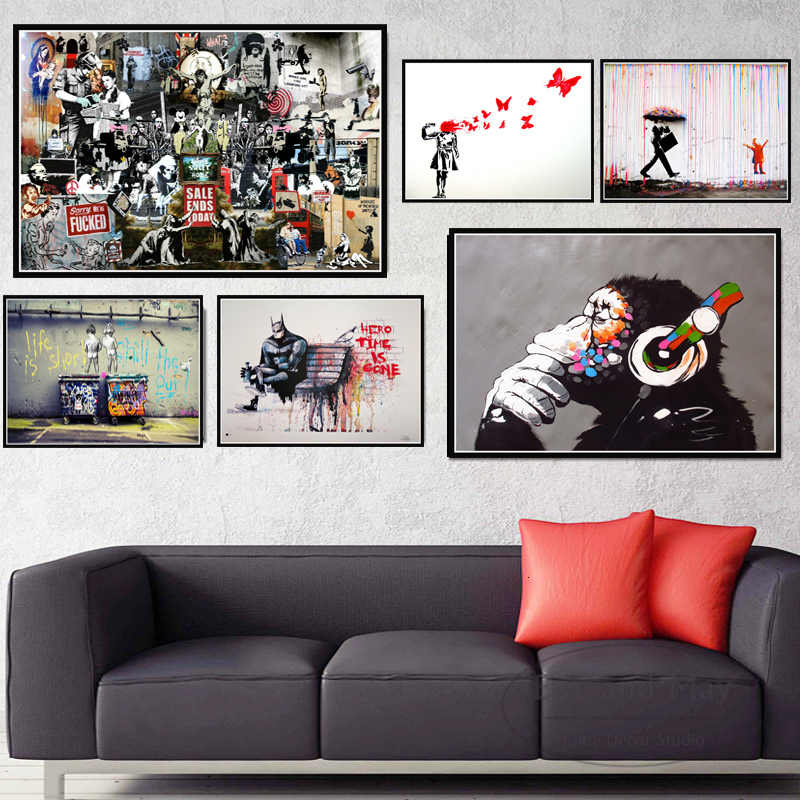 Banksy Street Graffiti Collage Monkey Posters And Prints Canvas Painting Wall Pictures For Living Room Nordic Home Decoration