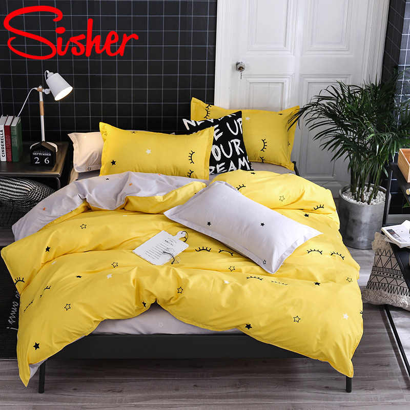 Sisher Simple Bedding Set With Pillowcase Duvet Cover Sets Bed Linen Sheet Single Double Queen King Size Quilt Covers Bedclothes