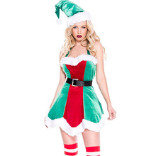 2019 new Christmas role-playing costumes cute green multi-piece party stage costume Happy holiday cloth