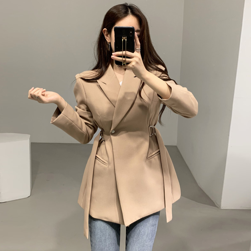 New 2020 Spring Autumn Women Blazer Jacket Office Ladies Lace Up Notched Formal Outwear Elegant Khaki Black Suit