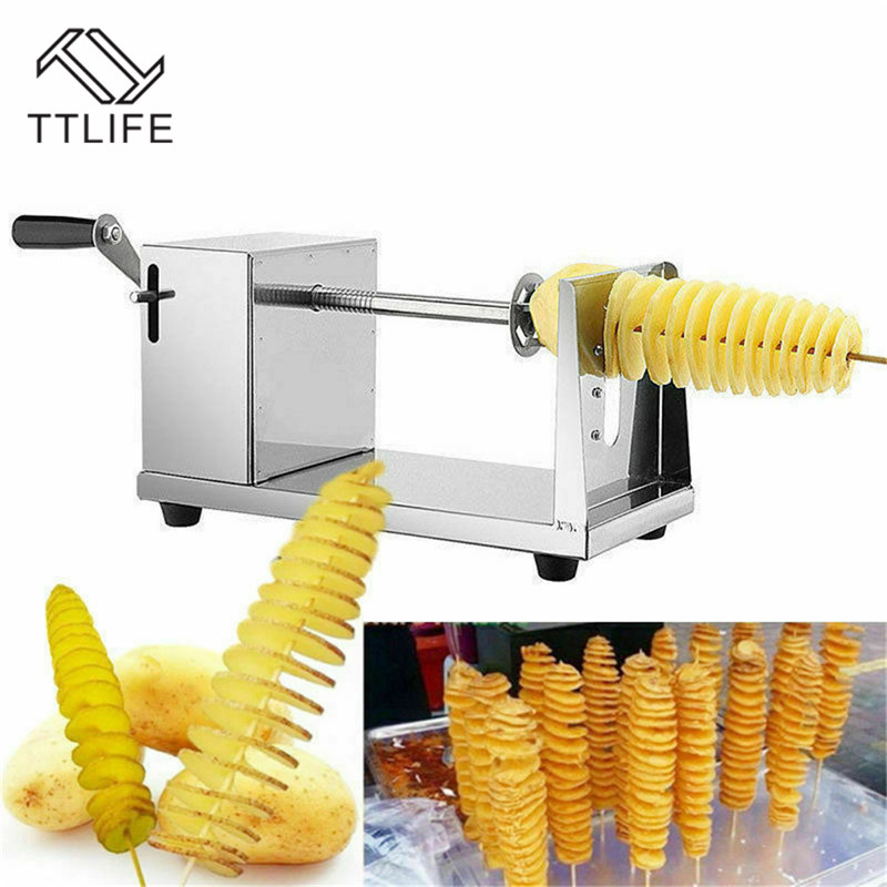 TTLIFE Spiral Potato Slicer Twister Twisted Tornado Potatoes Cutter French Fries Cutting Chips Machine Kitchen DIY Cooking Tools