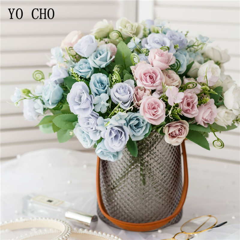 YO CHO Bridesmaid Bouquet Flower Bridal Wedding Flower Bouquets Handmade Wedding Flowers Pink Rose DIY Home Party Decorations