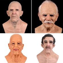Latex Mask Helmet Scary-Props Masquerade Grandparents Halloween Bald with Wig Moustache