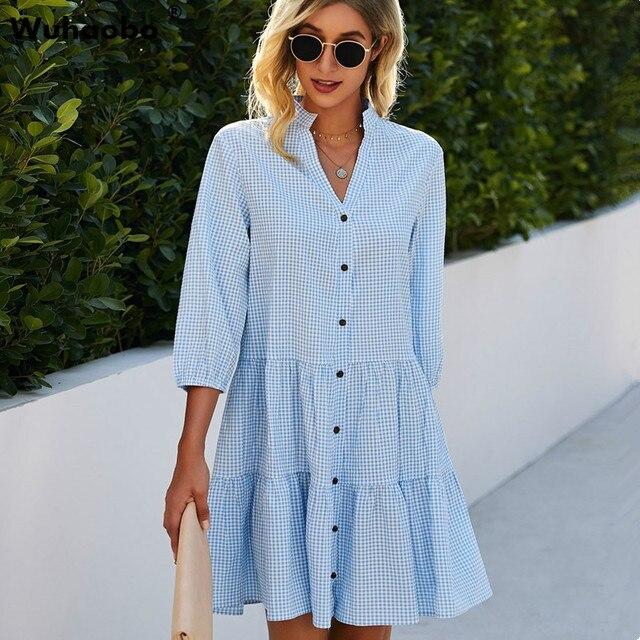 2021 Fashion Leopard Print Women Shirt Dress Summer Sexy V neck Single Breasted Three Quarter Casual Loose Short Dresses Vestido 1