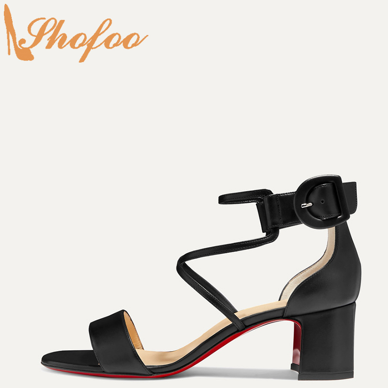 Black Red Bottom High Chunky Heels Women Sandals Open Toe Ankle Strap Large Size 11 15 Ladies Summer Fashion Mature Shoes Shofoo