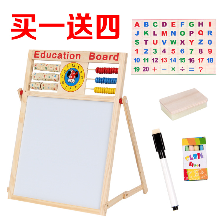 Wood Educational Learning Toy Multi-functional Drawing Board Wooden Children WordPad Double-Sided Magnetic Drawing Board Graffit