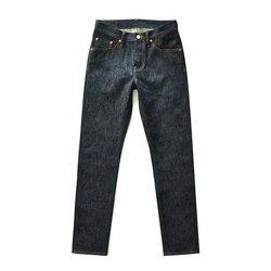 صلصة المنشأ 910-CL Selvedge الجينز الخام الرجال الجينز الرجال الجينز العلامة التجارية الأمريكية القطن سليم صالح جينز للرجال الجينز الأزرق