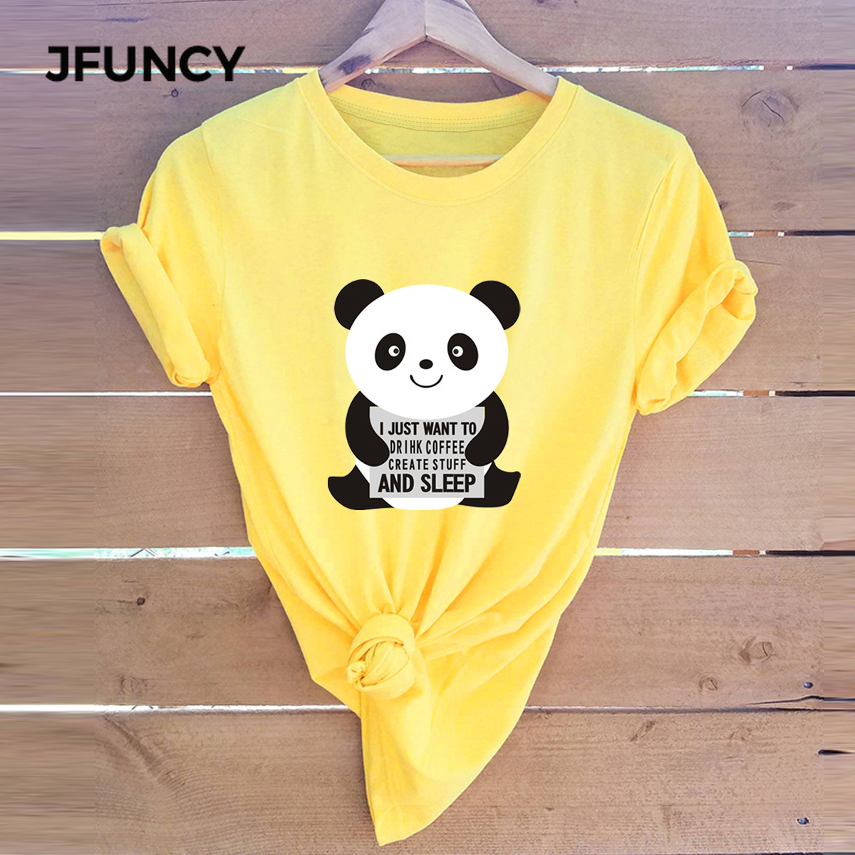 JFUNCY Plus Size Women Tshirts Cute Panda Summer 100% Cotton T-shirts Women Casual Tshirt Funny Harajuku Graphic Tee Female Tops