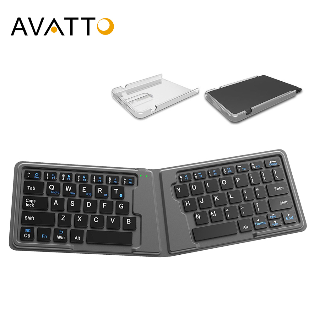 [AVATTO] Travel Leather Folding Mini Keyboard With Bluetooth Foldable BT Wireless Keypad For IOS,android Phone,Tablet,ipad,PC