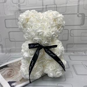 Image 4 - Prezent walentynkowy miś z róż 25cm, czerwona róża, miś, róża, kwiat, sztuczna dekoracja, świąteczne prezenty, dla kobiet, walentynki, prezent,gorący