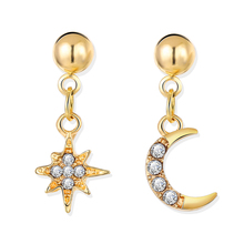 8Seasons Fashion Women Hoop Earrings Gold/Silver Color Half Moon Star Rhinestone Punk Style Party Earring Jewelry 26mm, 1 Pair pair of punk rivet studded hoop earrings