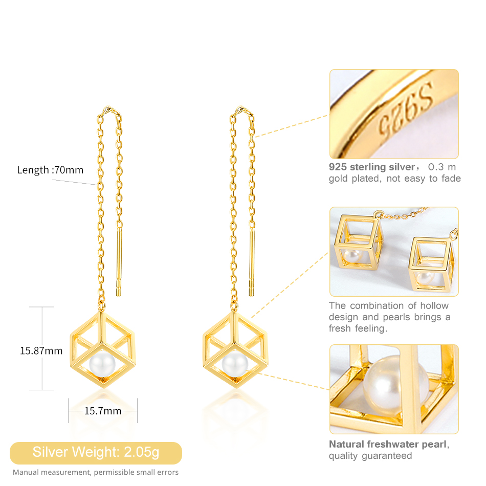 ALLNOEL Real 925 Sterling Silver Real pearl Combination Of Hollow Design Gold Color Necklace Earrings Jewelry sets For Womem (4)